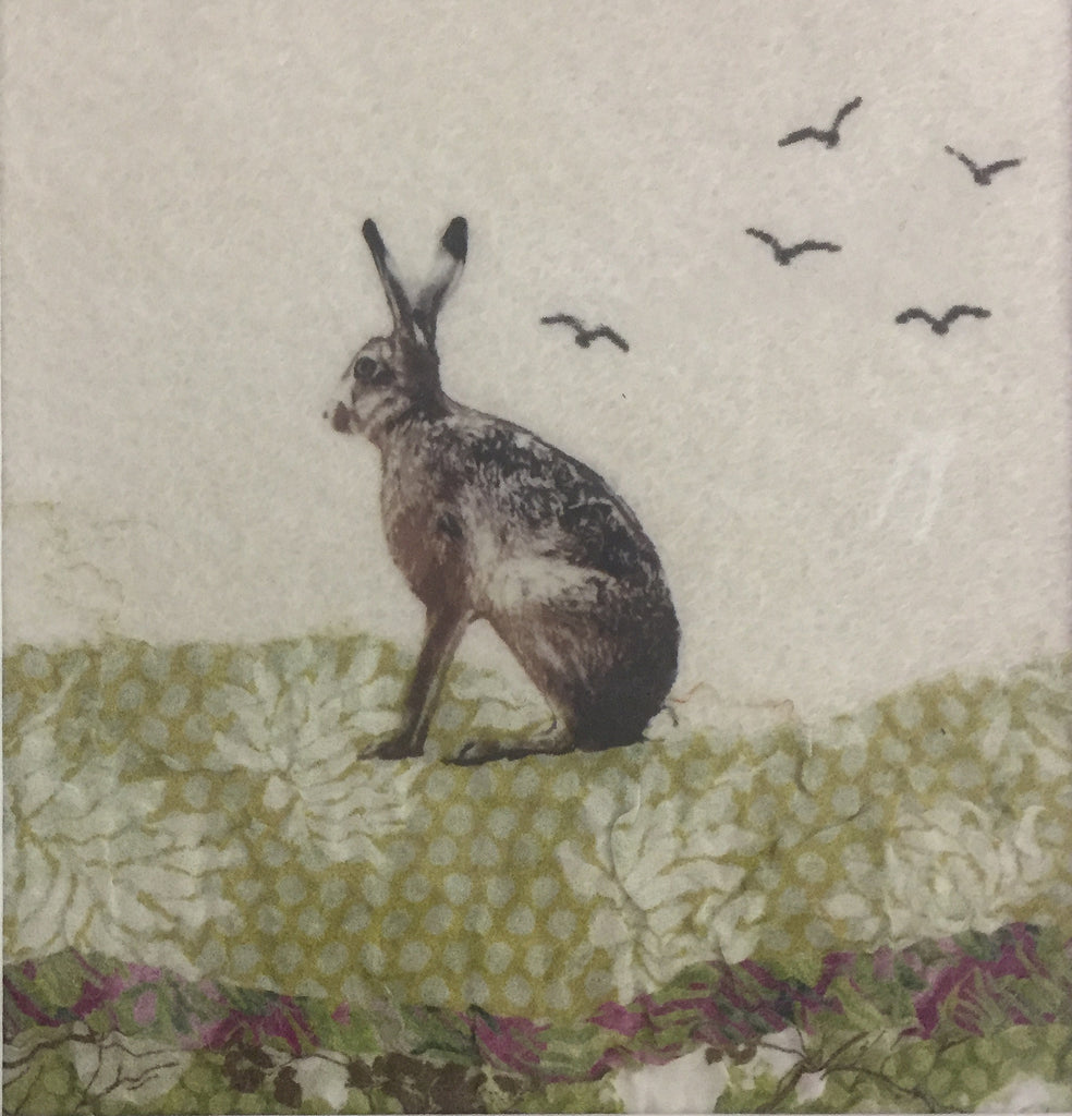 Sitting Hare & Birds - textile art by Lindsey Tyson
