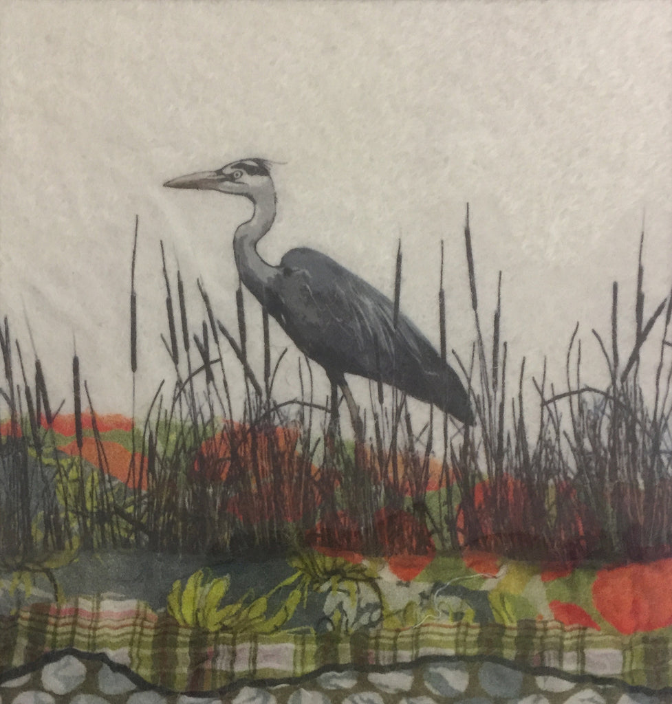 Heron - textile art by Lindsey Tyson