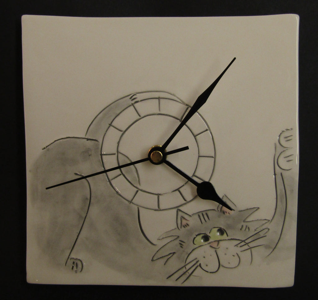 Hanging Cat Clock by Stephanie Beasley
