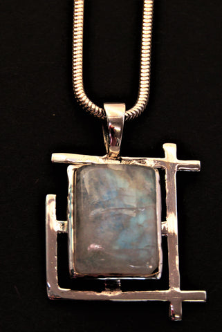 Art Deco Pendant in Sterling Silver with Moonstone by Madeleine Blaine