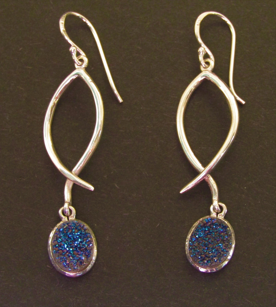 Lupin Earrings with Blue Druzy Stone made by Madeleine Blaine.