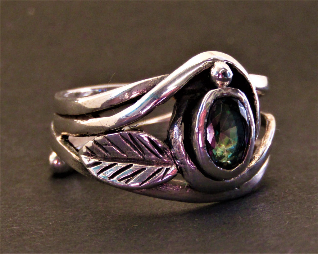Leaf Ring in silver set with Mystic Topaz by Madeleine Blaine