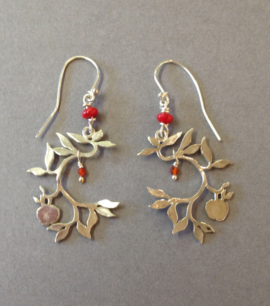 Apple Tree Earrings with Carnelian and Coral by Jesa Marshall