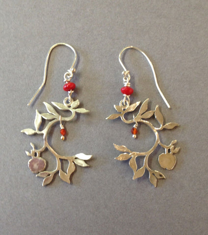 Apple Tree Earrings with Carnelian and Coral
