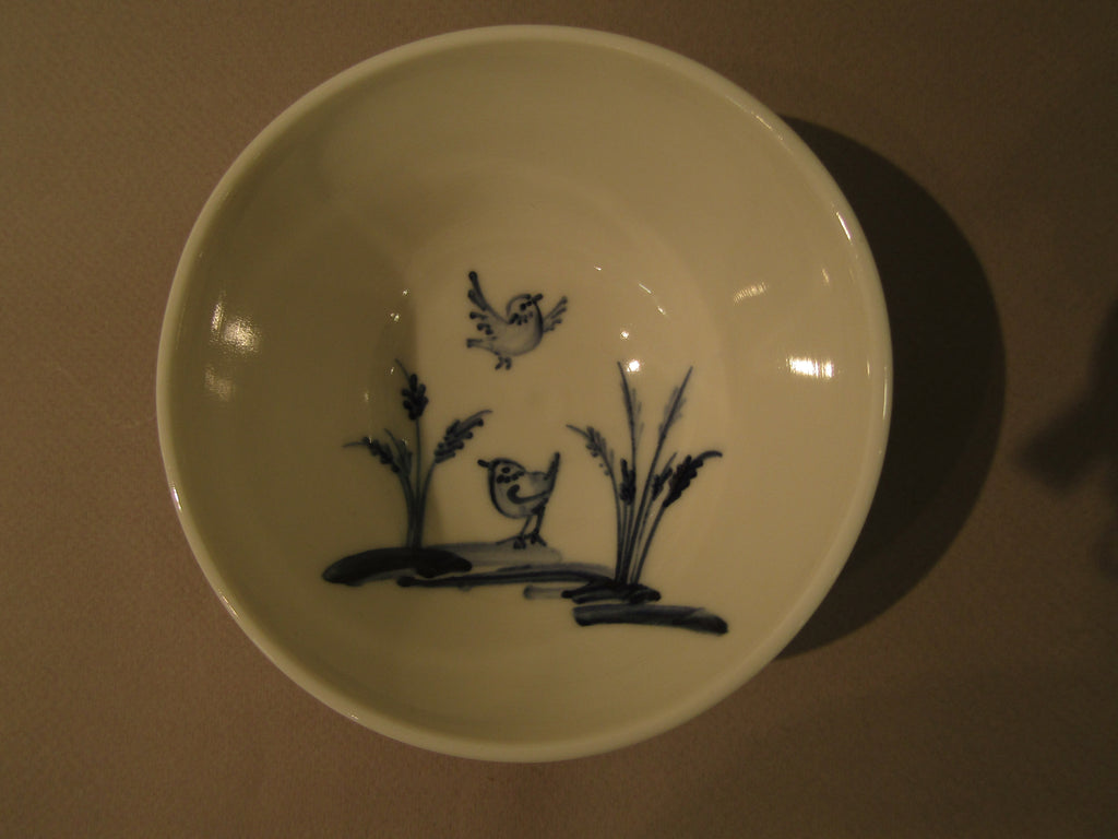 Bird Design Tiny Bowl, Hand-Painted Porcelain by Mia Sarosi