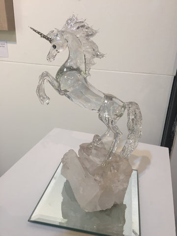 Unicorn on Quartz - Glass Sculpture by Sandra Young