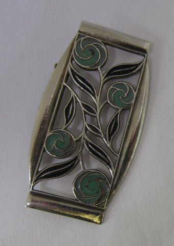 Green And Silver Flowers Brooch By Jess Lelong
