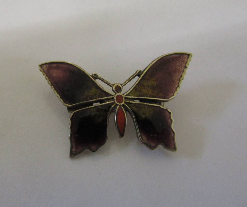 Enamelled Purple Butterfly Brooch, Jess Lelong