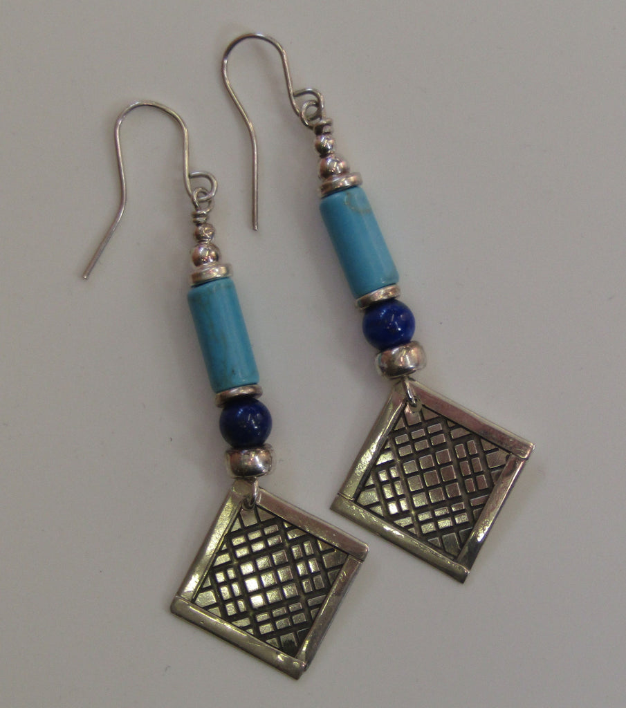 Turquoise and Lapis Silver Earrings by Anne Farag