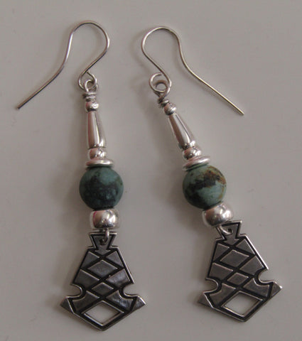 African Turquoise and  Silver Earrings