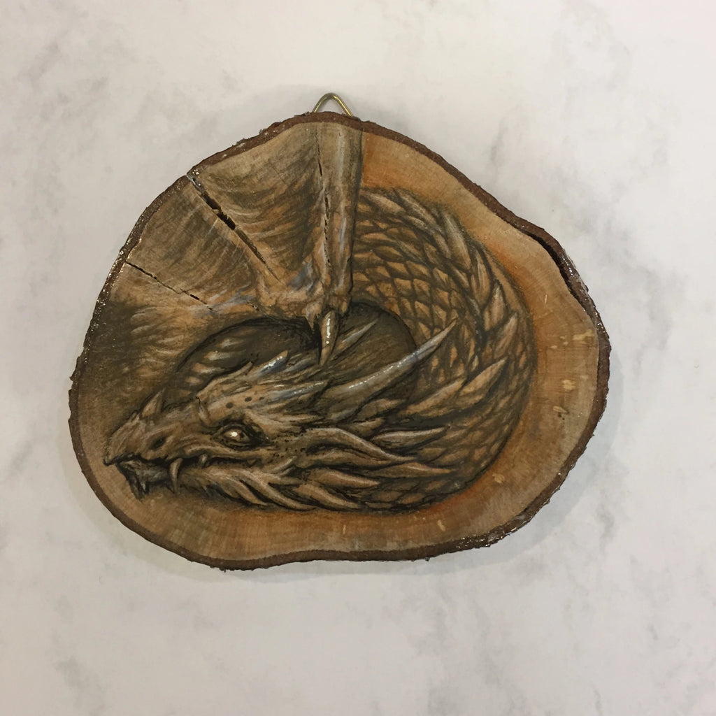 Dragon Drawing on Hazel Wood Slice #2 by Steve Samsara