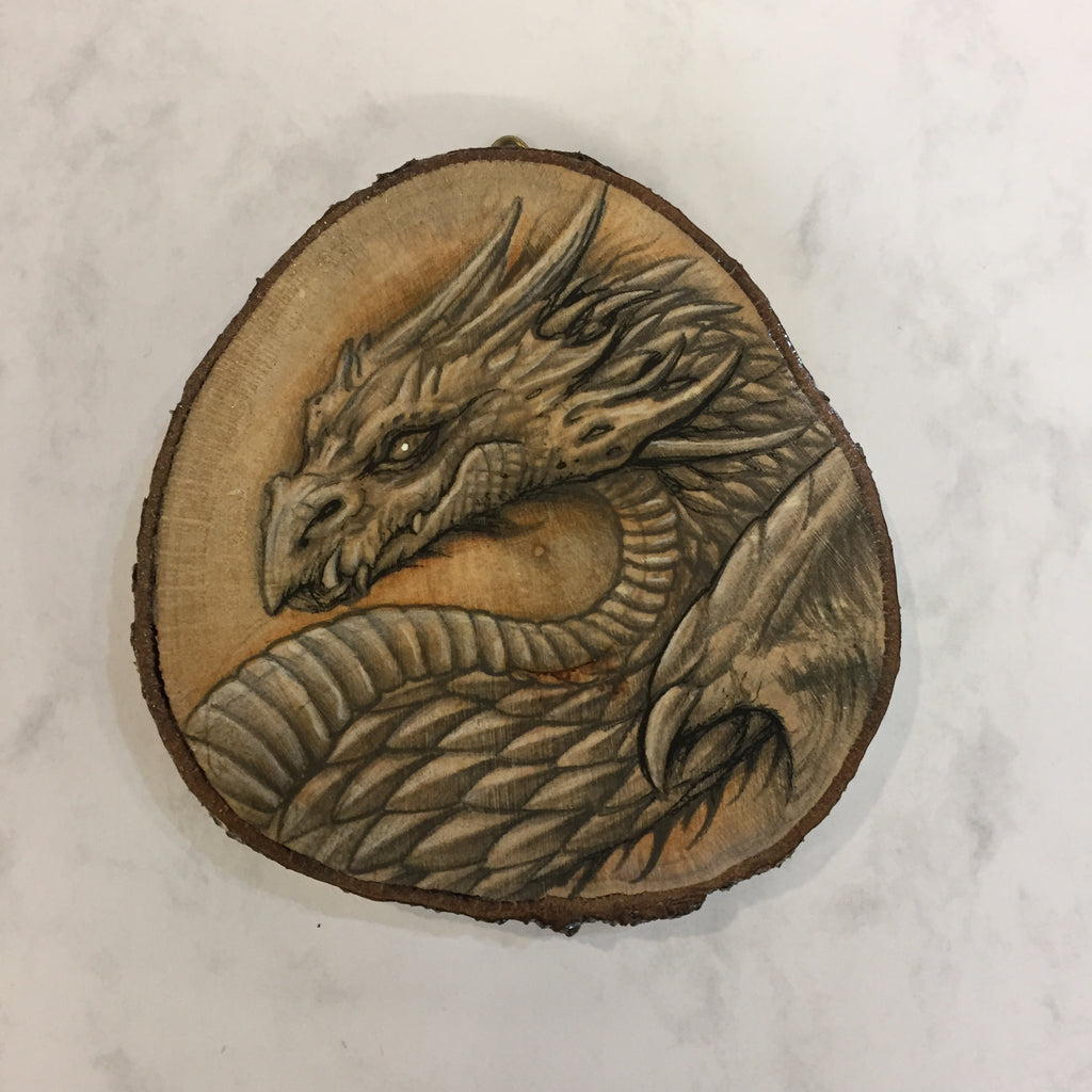 Dragon Drawing on Hazel Wood Slice #4 by Steve Samsara