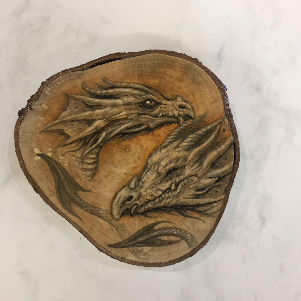 Dragon Drawing on Hazel Wood Slice #5 by Steve Samsara