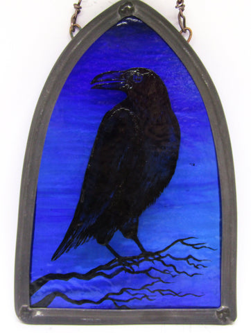 Crow and Twig - Glass by Debra Eden
