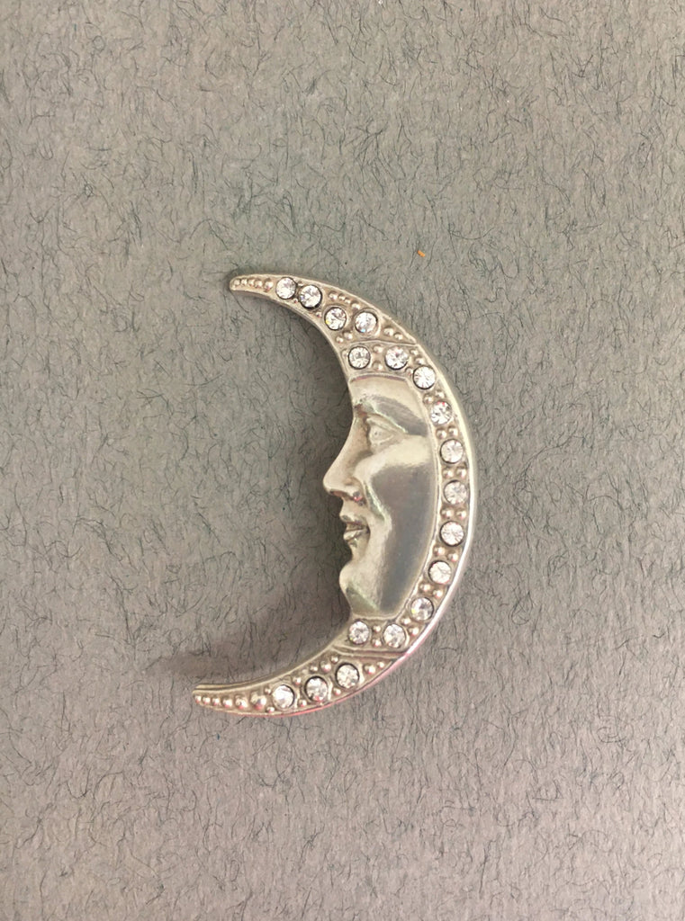 Diamante Crescent Moon Brooch by Jess Lelong