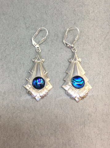 Art Deco Earrings with an Iridescent Centre by Jess Lelong
