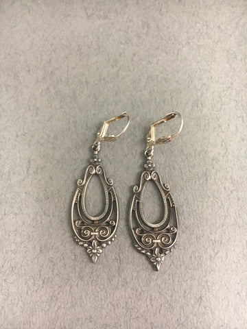 Art Deco Inspired Oxidised Teardrop Earrings by Jess Lelong