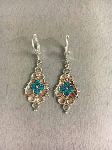 Teal Diamante Earrings by Jess Lelong