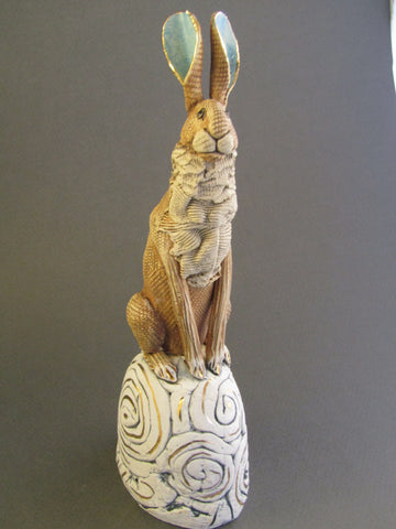 Small Brown Hare on Hill - Hand-Built Ceramic Sculpture by Gin Durham