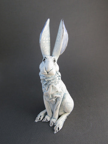 Small Sitting Porcelain Hare- Hand-Built Ceramic Sculpture by Gin Durham