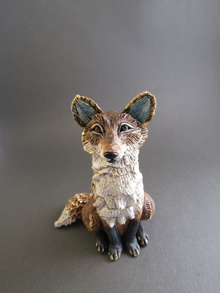Small Sitting Brown Fox with Frill - Hand-Built Ceramic Sculpture by Gin Durham