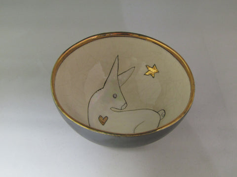 Small bowl with Sitting Hare and Gold Detailing