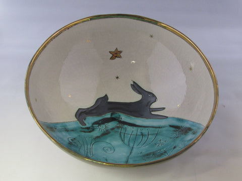 Large Bowl with Running Hare and Gold Detailing