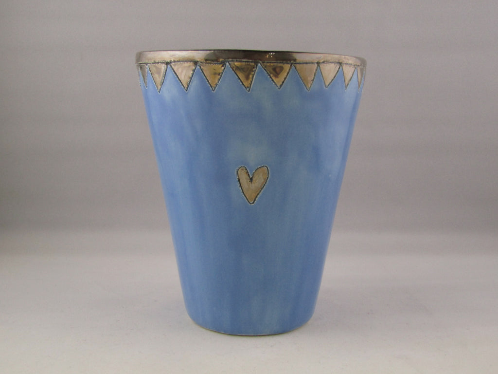 Large Light Blue Beaker with Platinum Detailing by Sophie Smith