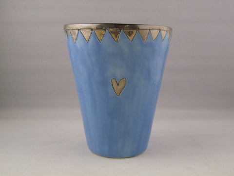 Large Light Blue Beaker with Gold Detailing by Sophie Smith