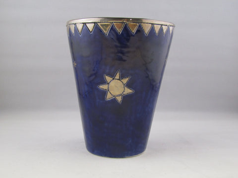 Large Dark Blue Beaker with Platinum Detailing by Sophie Smith