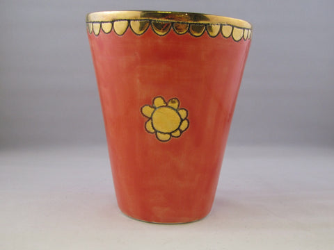 Large Red Beaker with Gold Detailing by Sophie Smith