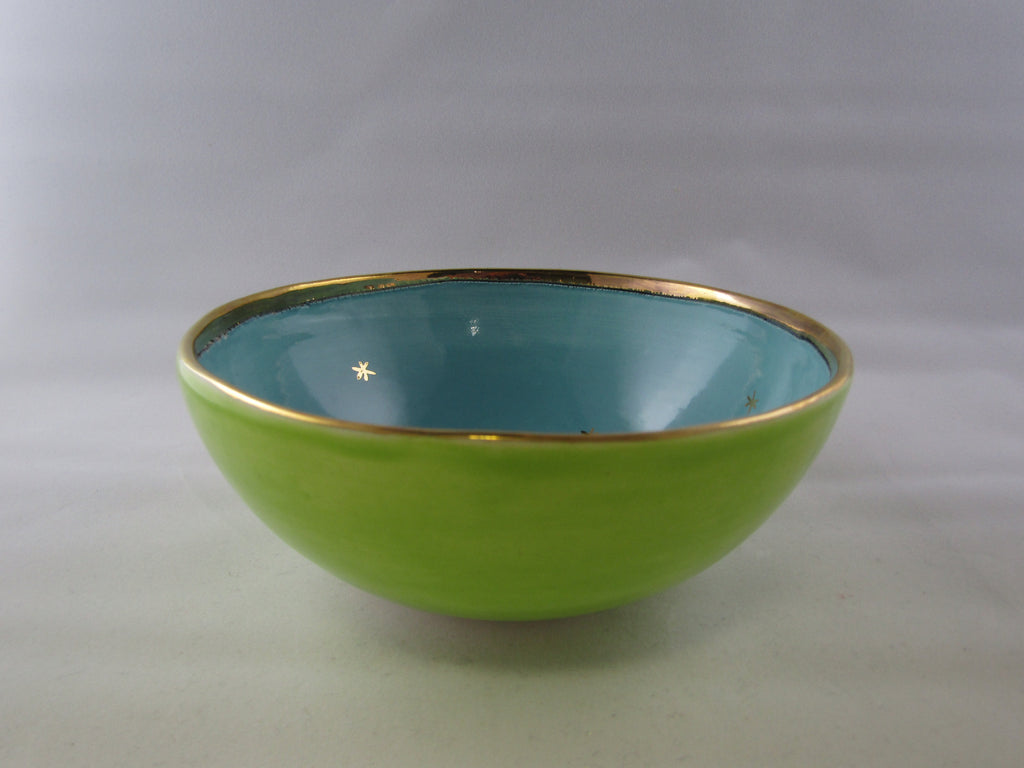Small Green and Blue Bowl with Gold Detail by Sophie Smith