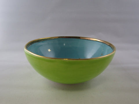 Small Green and Blue Bowl with Platinum Detail by Sophie Smith
