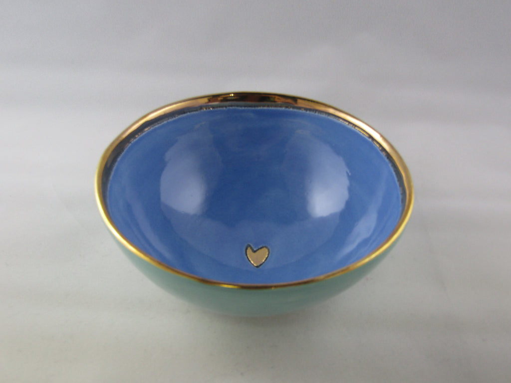 Small Turquoise and Light Blue Bowl with Gold Detailing
