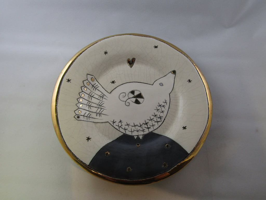 Small Plate with Bird and Gold Detailing by Sophie Smith