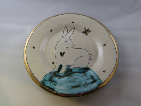 Small Plate with Hare and Gold Detailing by Sophie Smith