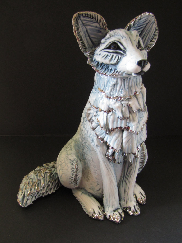 Small Sitting Porcelain Fox with Frill - Hand-Built Ceramic Sculpture by Gin Durham