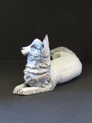 Small Reclining Porcelain Fox - Hand-Built Ceramic Sculpture by Gin Durham