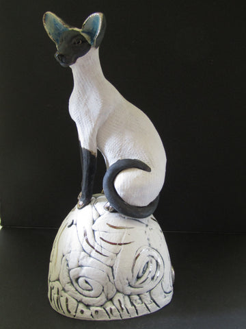 Siamese Cat on a Hill - Hand-Built Ceramic Sculpture by Gin Durham
