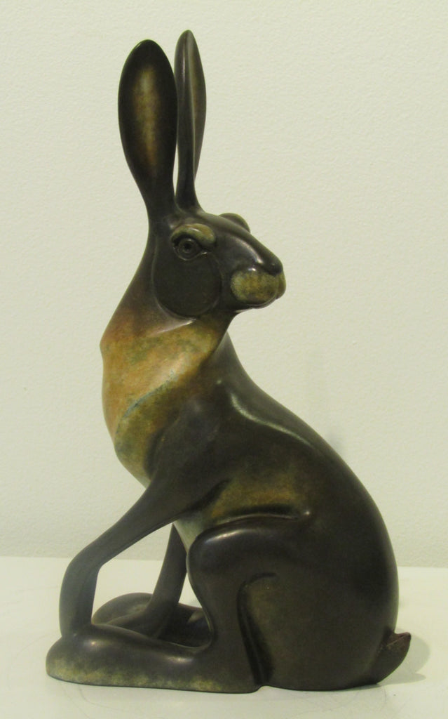 Hare Sitting Bronze Sculpture by David Meredith