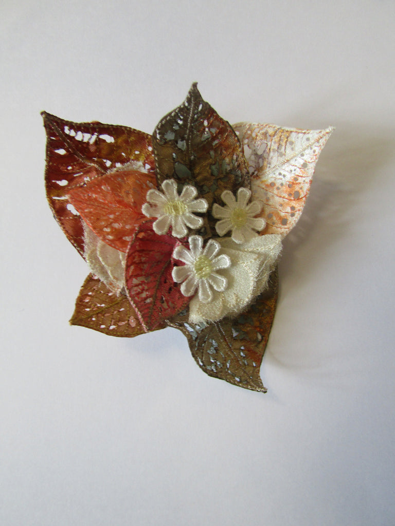 Boxed Cluster Leaf Brooch with Daisies by Vikki Lafford Garside