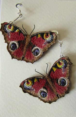 Peacock Butterfly Earrings by Vikki Lafford Garside