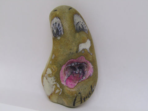 """Argh"" Hand Painted Stone by Alexis Penn Carver"