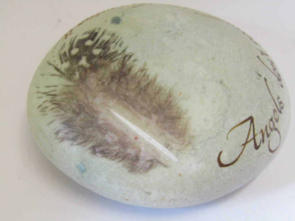 """Angels don't read music..............."" Hand Painted Stone by Alexis Penn Carver"