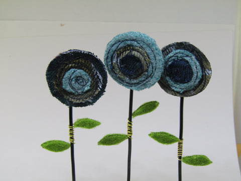 Blue Tartan Three Poppies by Catherine Bell