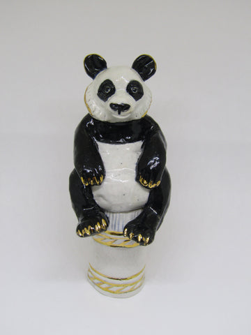 Mini Panda - Hand-Built Ceramic Sculpture by Gin Durham
