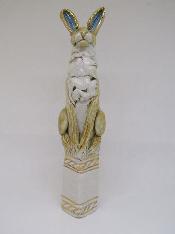 Small Hare on Pedestal - Hand-Built Ceramic Sculpture by Gin Durham