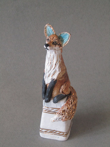 Mini Fox on Plinth - Hand-Built Ceramic Sculpture by Gin Durham