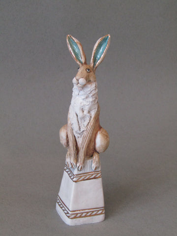 Mini Hare on Plinth - Hand-Built Ceramic Sculpture by Gin Durham