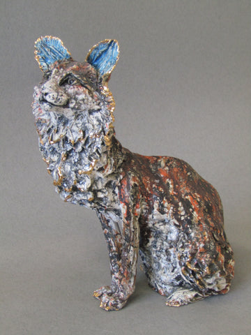 Medium Cat - Hand-Built Ceramic Sculpture by Gin Durham